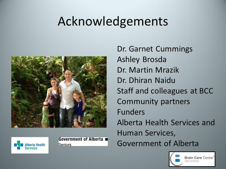 Acknowledgements Dr. Garnet Cummings Ashley Brosda Dr.