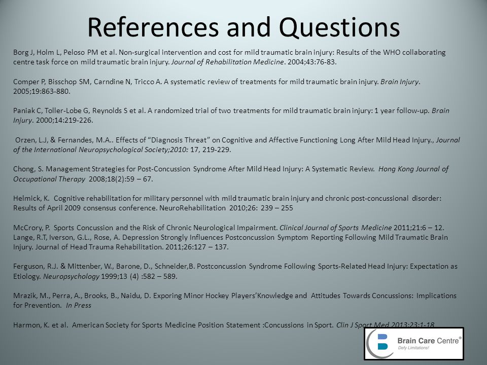 References and Questions Borg J, Holm L, Peloso PM et al.