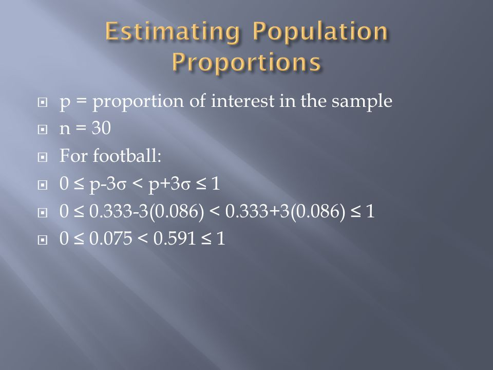 p = proportion of interest in the sample n = 30 For football: 0 p-3 σ < p+3 σ (0.086) < (0.086) <