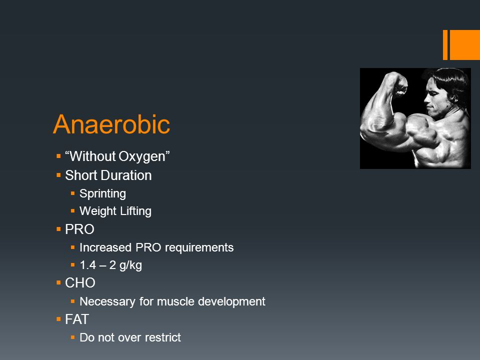 Anaerobic Without Oxygen Short Duration Sprinting Weight Lifting PRO Increased PRO requirements 1.4 – 2 g/kg CHO Necessary for muscle development FAT Do not over restrict