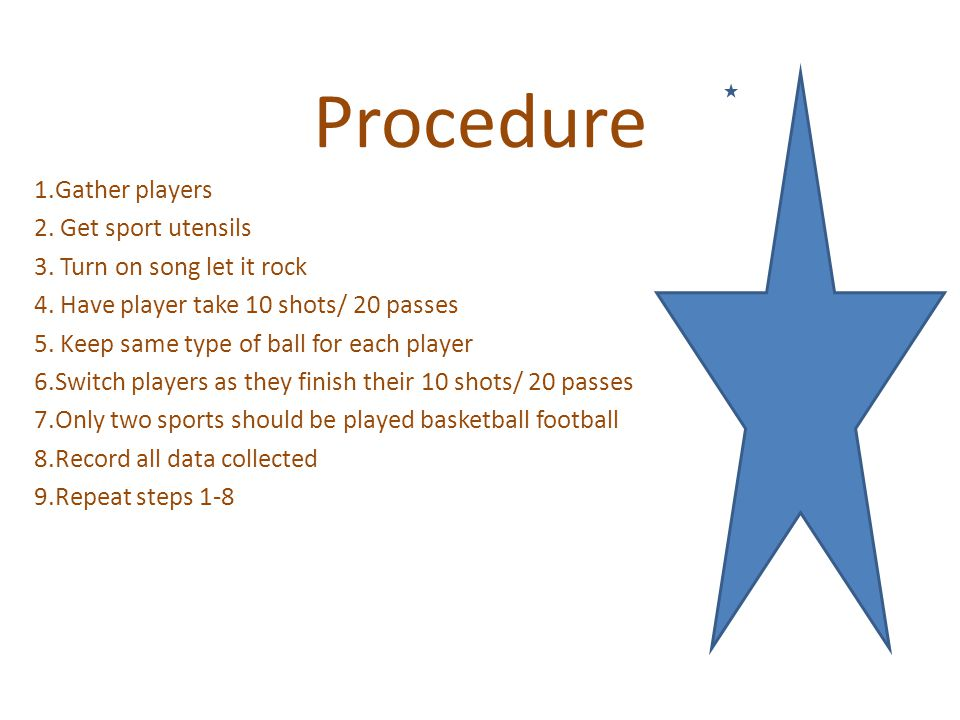 Procedure 1.Gather players 2. Get sport utensils 3.