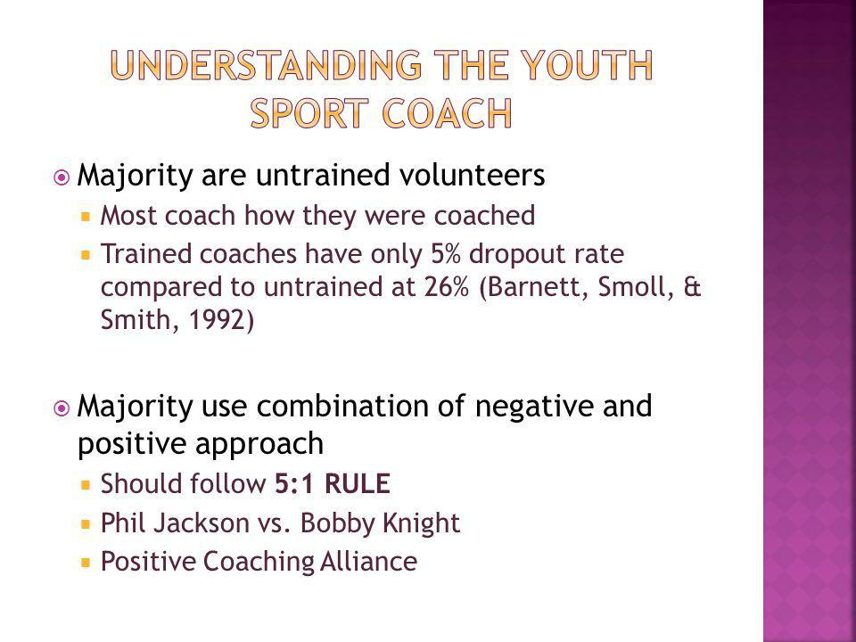 Majority are untrained volunteers Most coach how they were coached Trained coaches have only 5% dropout rate compared to untrained at 26% (Barnett, Smoll, & Smith, 1992) Majority use combination of negative and positive approach Should follow 5:1 RULE Phil Jackson vs.