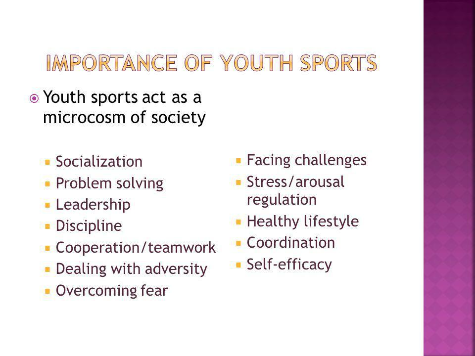 Youth sports act as a microcosm of society Socialization Problem solving Leadership Discipline Cooperation/teamwork Dealing with adversity Overcoming