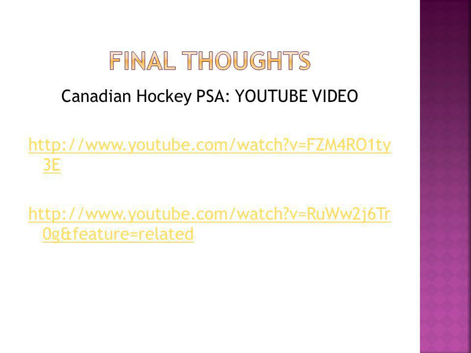 Canadian Hockey PSA: YOUTUBE VIDEO http://www.youtube.com/watch?v=FZM4RO1ty 3E http://www.youtube.com/watch?v=RuWw2j6Tr 0g&feature=related