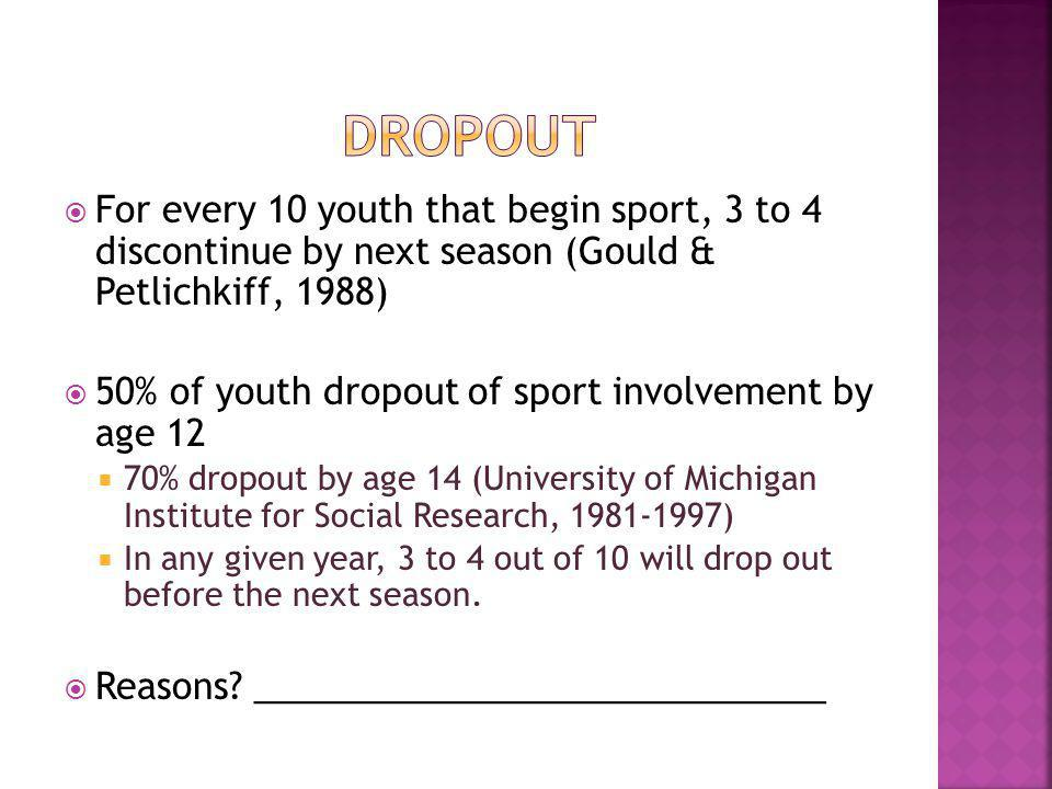 For every 10 youth that begin sport, 3 to 4 discontinue by next season (Gould & Petlichkiff, 1988) 50% of youth dropout of sport involvement by age 12 70% dropout by age 14 (University of Michigan Institute for Social Research, ) In any given year, 3 to 4 out of 10 will drop out before the next season.