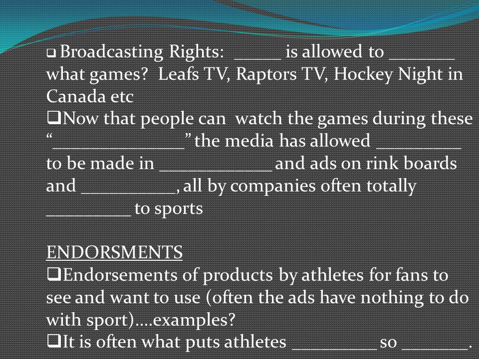 Broadcasting Rights: _____ is allowed to _______ what games.