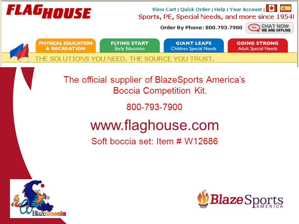 The official supplier of BlazeSports Americas Boccia Competition Kit.