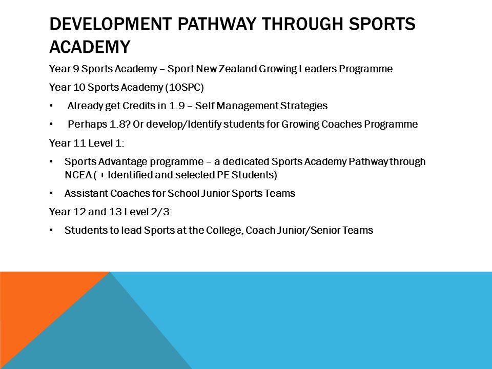 DEVELOPMENT PATHWAY THROUGH SPORTS ACADEMY Year 9 Sports Academy – Sport New Zealand Growing Leaders Programme Year 10 Sports Academy (10SPC) Already