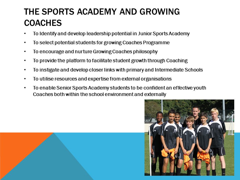 THE SPORTS ACADEMY AND GROWING COACHES To Identify and develop leadership potential in Junior Sports Academy To select potential students for growing