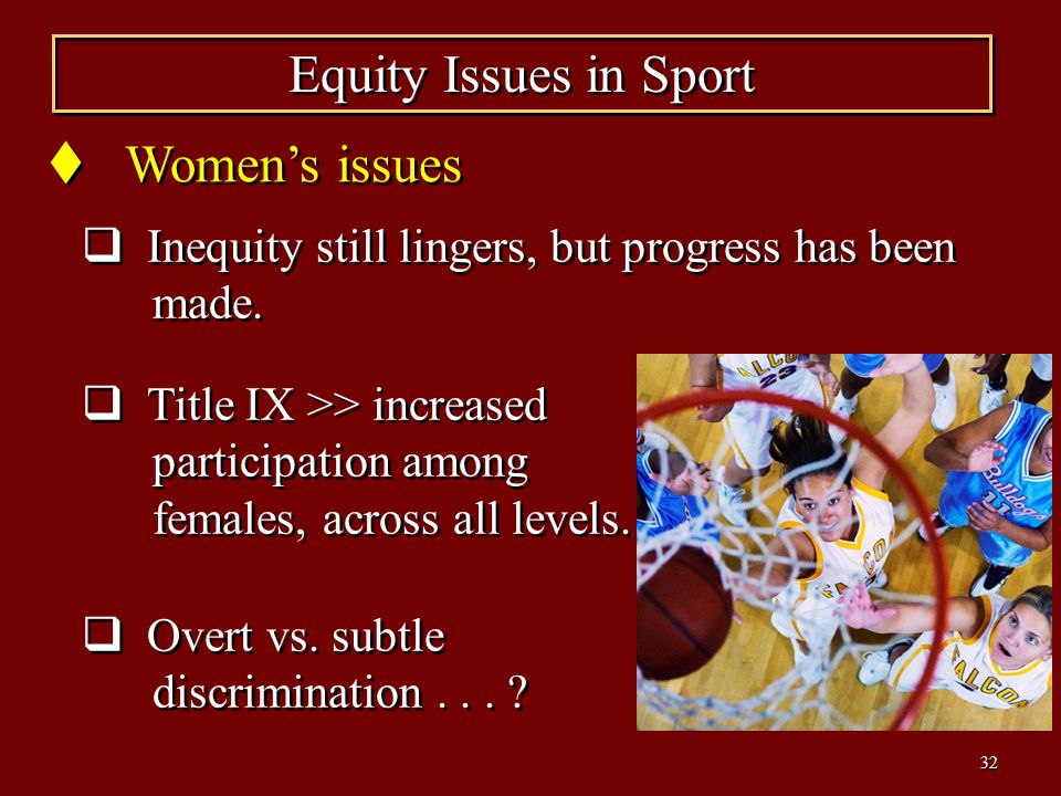33 Supreme court decisions have suppressed upward mobility of females in College sport.