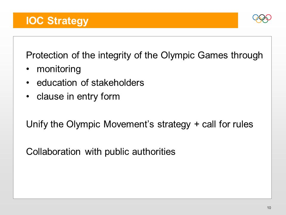 IOC Strategy Protection of the integrity of the Olympic Games through monitoring education of stakeholders clause in entry form Unify the Olympic Move
