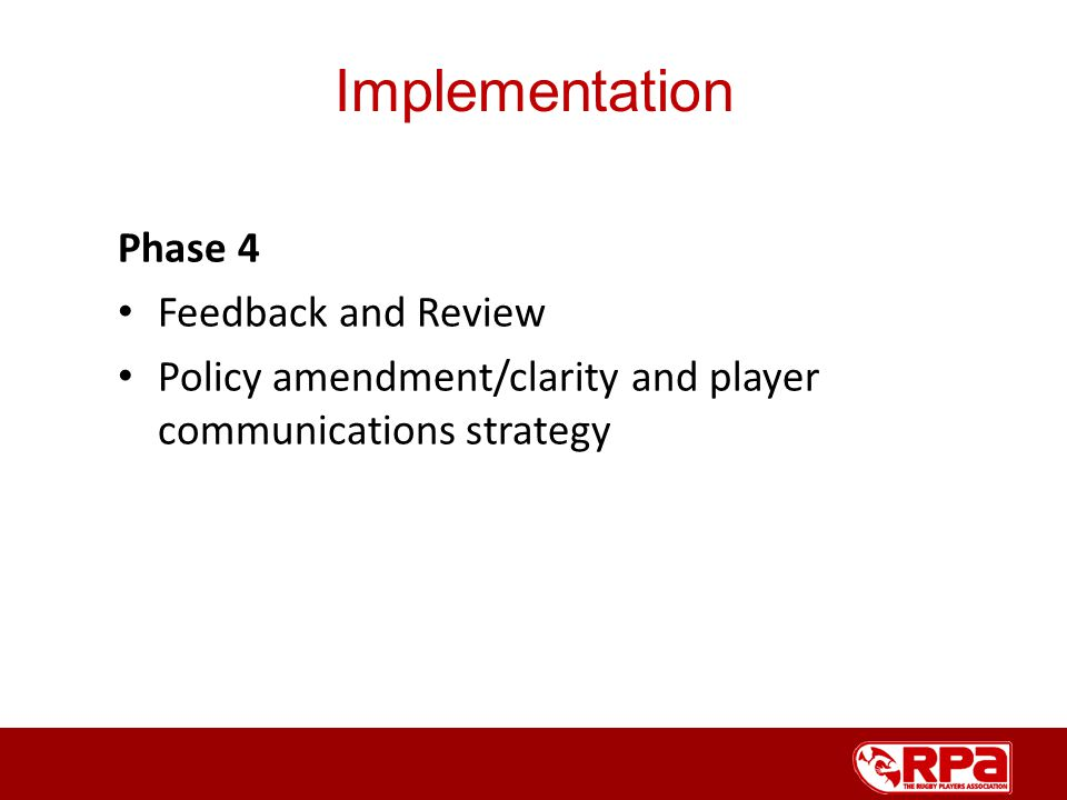 Phase 4 Feedback and Review Policy amendment/clarity and player communications strategy Implementation