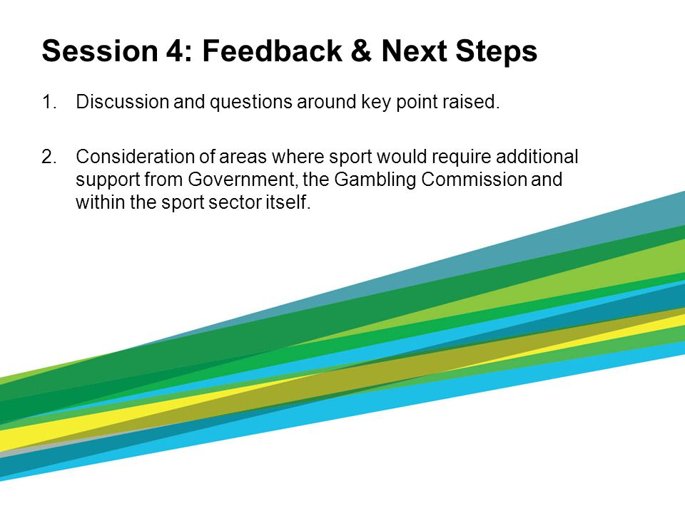 Session 4: Feedback & Next Steps 1.Discussion and questions around key point raised. 2.Consideration of areas where sport would require additional sup