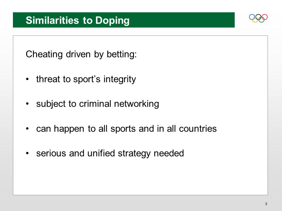 Supporting disciplinary procedures Establishing complementary procedures Partnerships/agreements on jurisdiction Carriage of investigation Sport, Gambling Commission, Police Consider specific arrangements for betting cases – and avoid prejudicial actions Appropriately expedited procedures