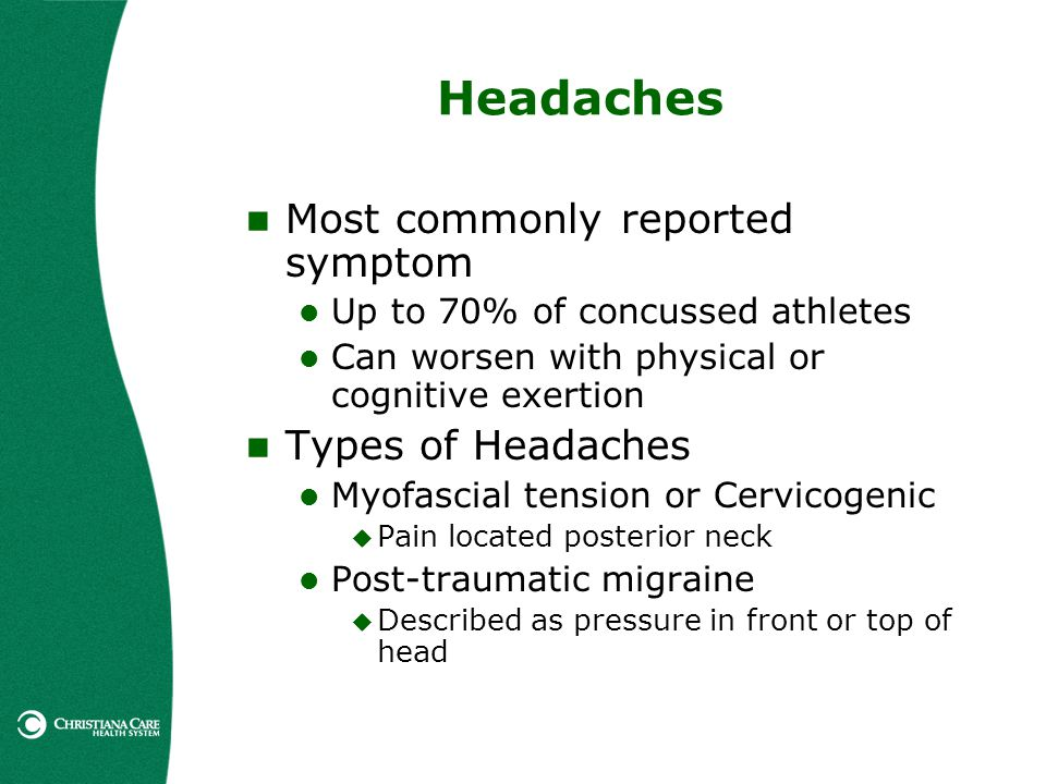 Headaches Most commonly reported symptom Up to 70% of concussed athletes Can worsen with physical or cognitive exertion Types of Headaches Myofascial