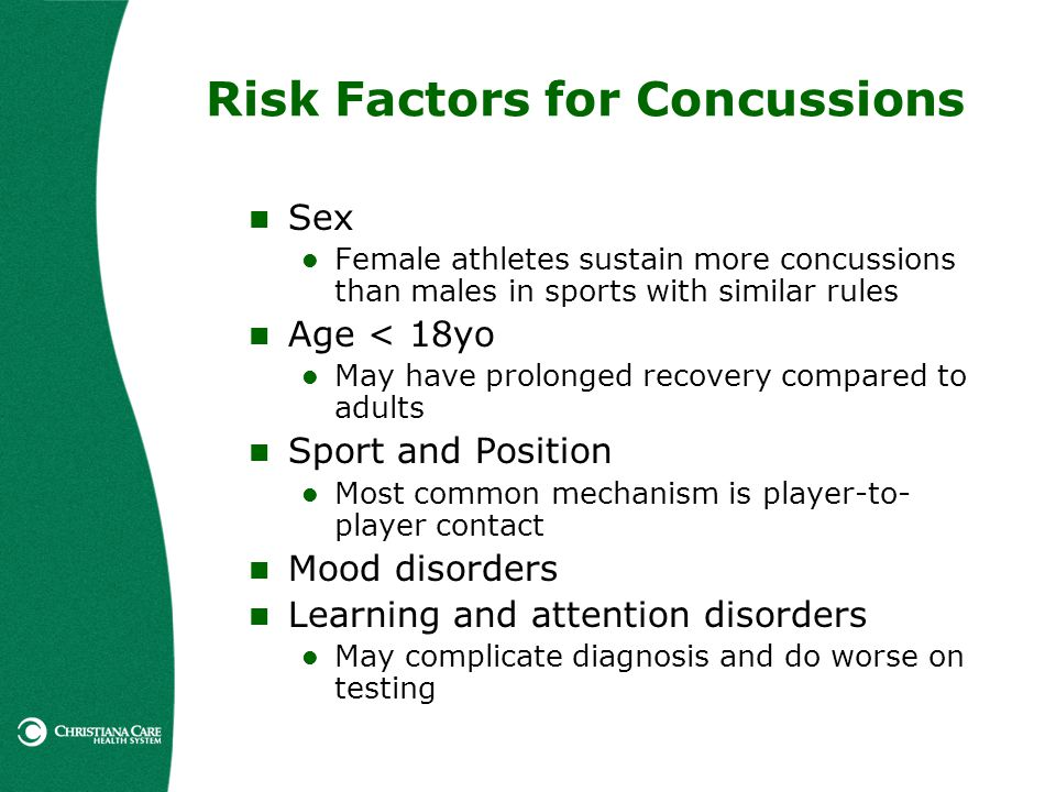 Risk Factors for Concussions Sex Female athletes sustain more concussions than males in sports with similar rules Age < 18yo May have prolonged recove