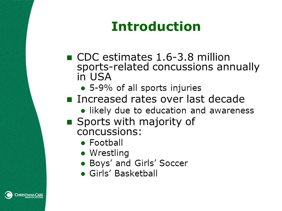 Introduction CDC estimates 1.6-3.8 million sports-related concussions annually in USA 5-9% of all sports injuries Increased rates over last decade lik
