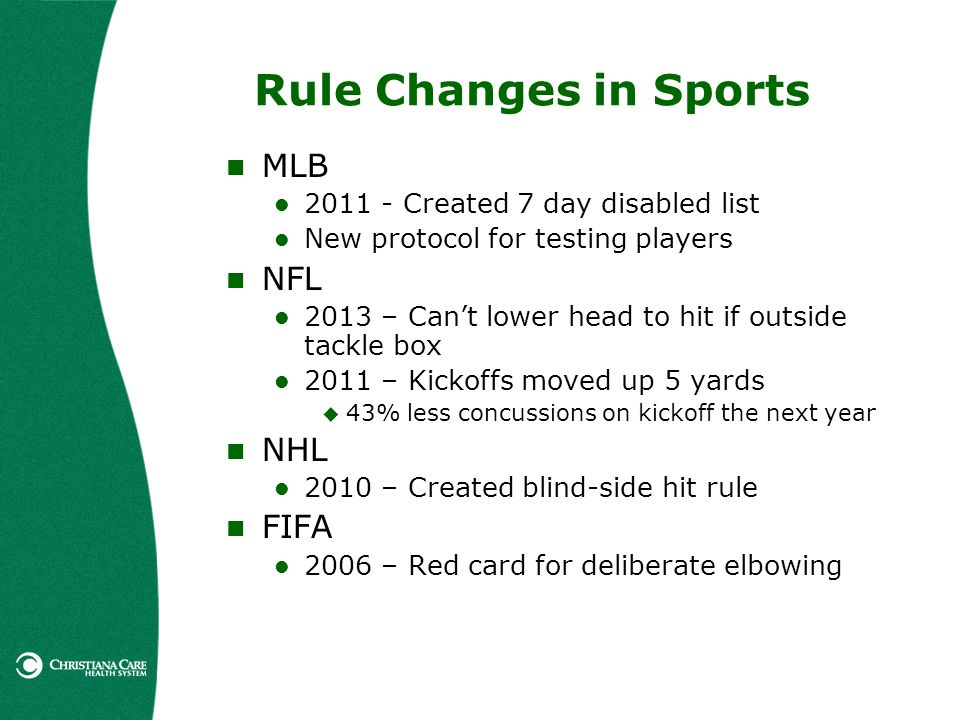 Rule Changes in Sports MLB 2011 - Created 7 day disabled list New protocol for testing players NFL 2013 – Cant lower head to hit if outside tackle box