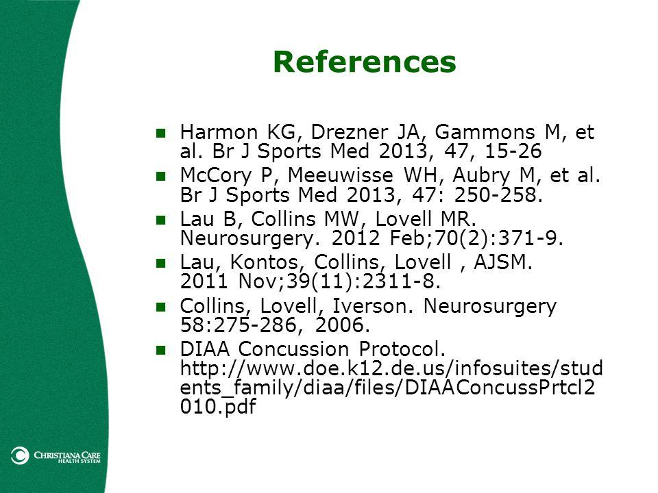 References Harmon KG, Drezner JA, Gammons M, et al. Br J Sports Med 2013, 47, 15-26 McCory P, Meeuwisse WH, Aubry M, et al. Br J Sports Med 2013, 47: