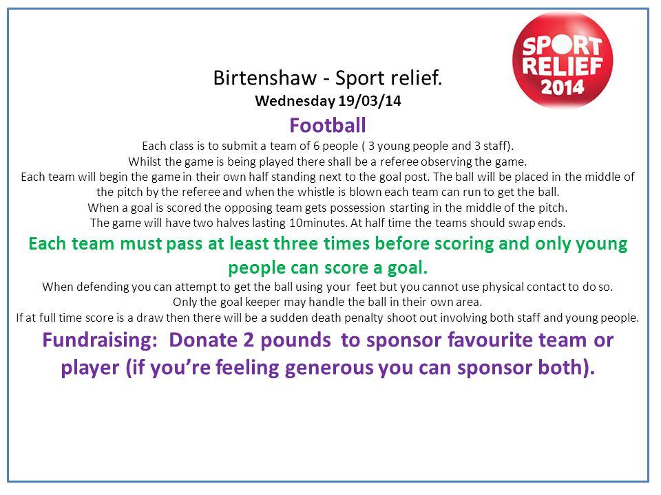 Birtenshaw - Sport relief.