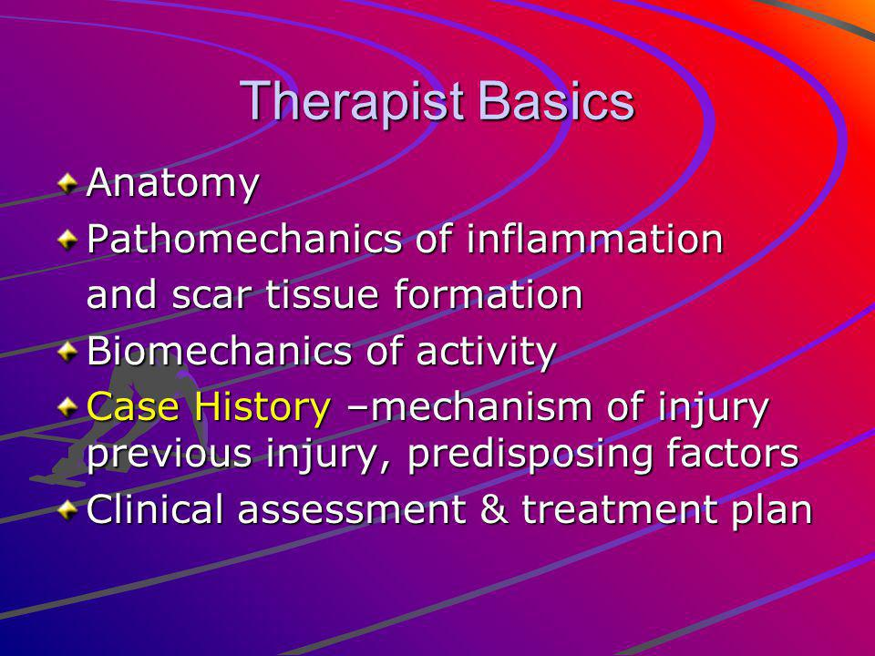 Therapist Basics Anatomy Pathomechanics of inflammation and scar tissue formation Biomechanics of activity Case History –mechanism of injury previous injury, predisposing factors Clinical assessment & treatment plan