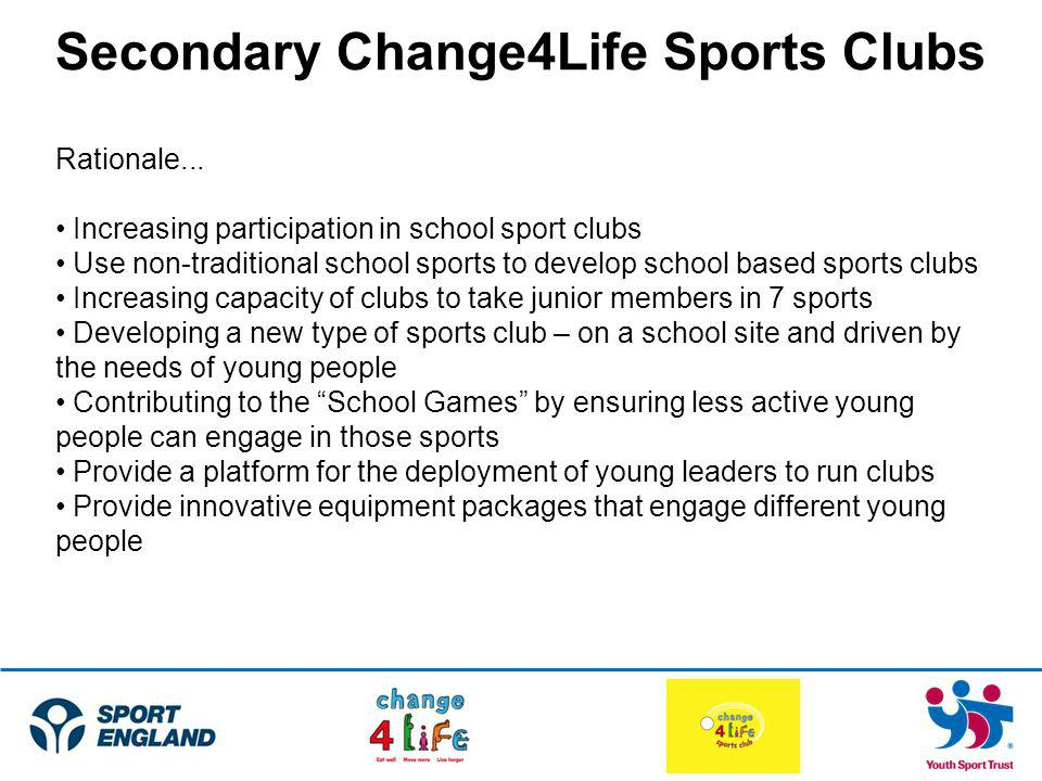 Secondary Change4Life Sports Clubs Rationale...