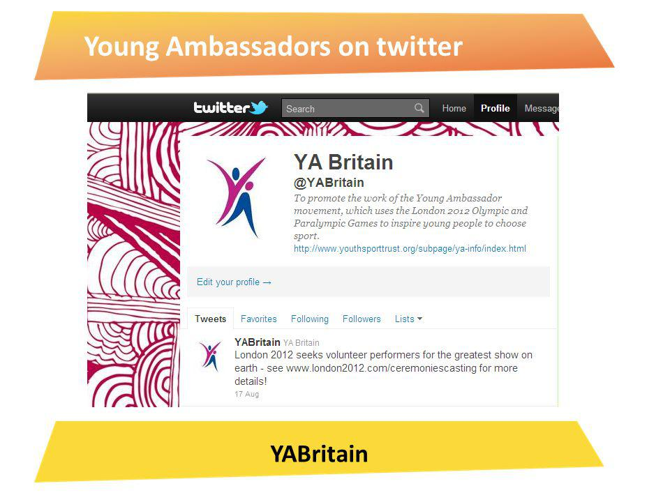 Young Ambassadors on twitter YABritain