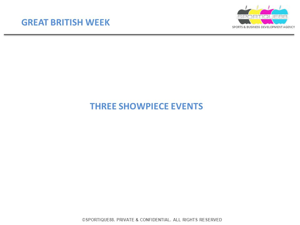 ©SPORTIQUE88. PRIVATE & CONFIDENTIAL. ALL RIGHTS RESERVED SPORTS & BUSINESS DEVELOPMENT AGENCY THREE SHOWPIECE EVENTS GREAT BRITISH WEEK
