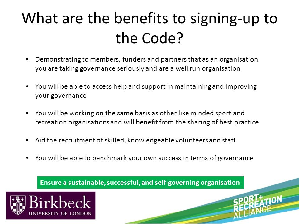 What are the benefits to signing-up to the Code.