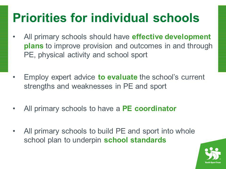 Working in Clusters/Partnerships Primary schools work in clusters and pool resources to improve professional development support to teachers and to increase extra curricular opportunities for all, using quality assured external expertise The improvement in partnership work on physical education with other schools
