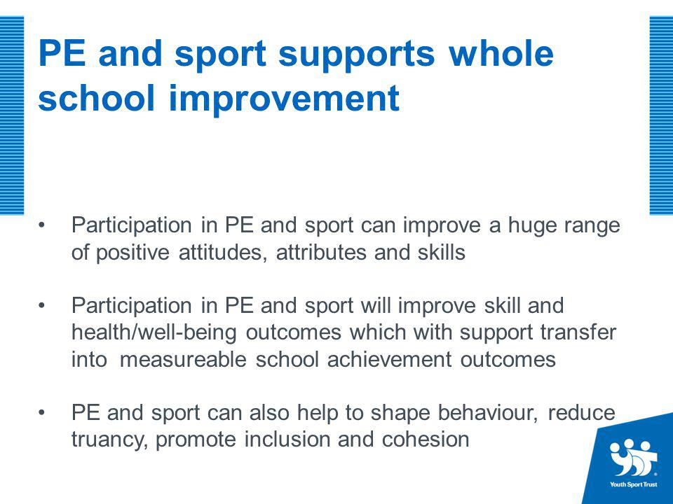 Government announcement: Sport Premium £150 million ring fenced in each of the next three years to support delivery of PE and sport in primary schools Funding allocated through a lump sum for each school.