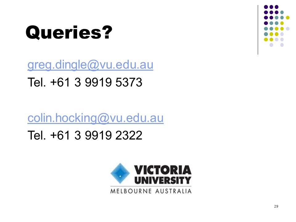 greg.dingle@vu.edu.au Tel. +61 3 9919 5373 colin.hocking@vu.edu.au Tel. +61 3 9919 2322 Queries? 29