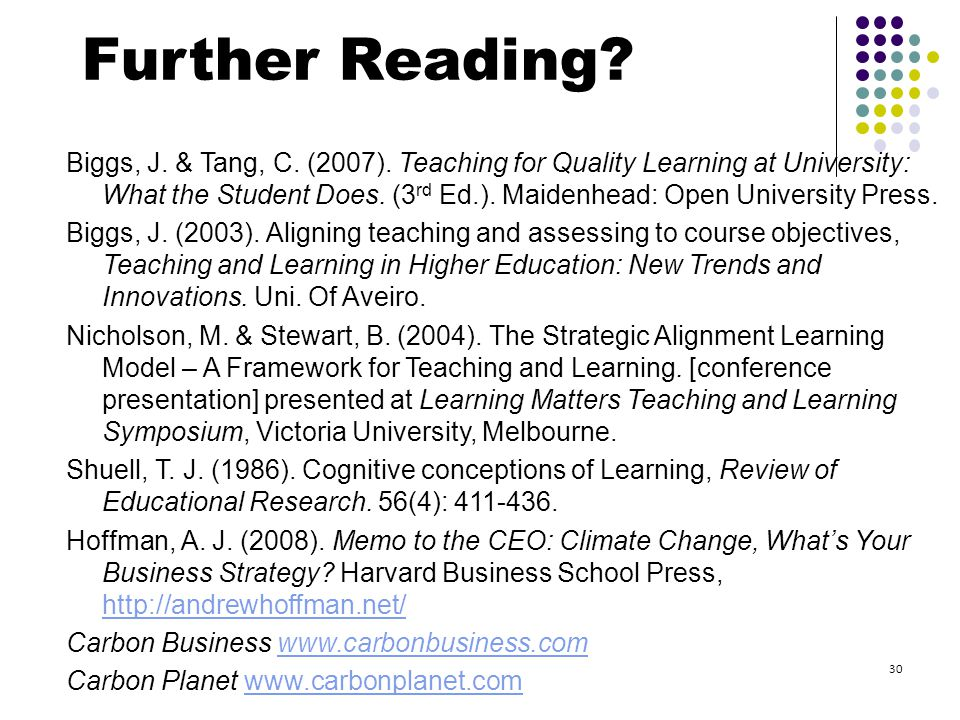 Biggs, J. & Tang, C. (2007). Teaching for Quality Learning at University: What the Student Does.