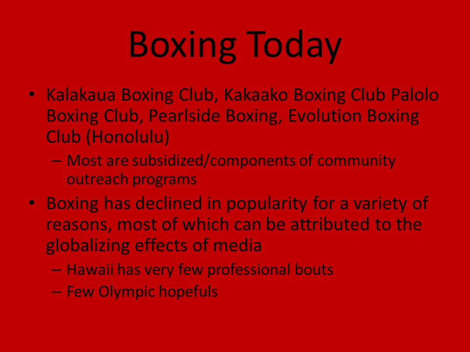 Boxing Today Kalakaua Boxing Club, Kakaako Boxing Club Palolo Boxing Club, Pearlside Boxing, Evolution Boxing Club (Honolulu) – Most are subsidized/co