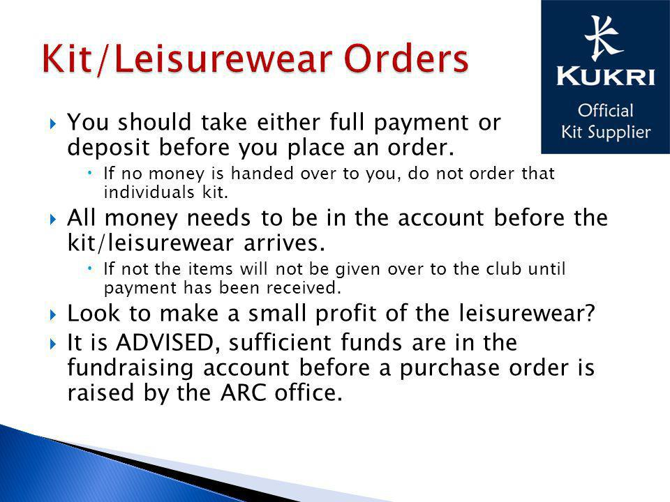 You should take either full payment or deposit before you place an order.