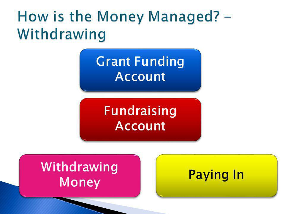 Paying In Withdrawing Money Fundraising Account Grant Funding Account