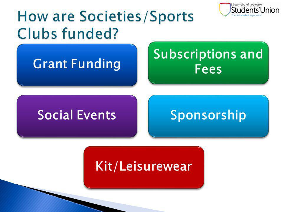Grant Funding Grant Funding Subscriptions and Fees Social Events Sponsorship Kit/Leisurewear