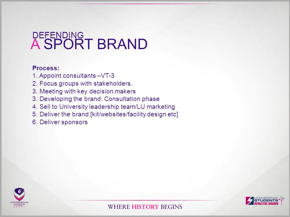 A SPORT BRAND DEFENDING Process: 1. Appoint consultants –VT-3 2.