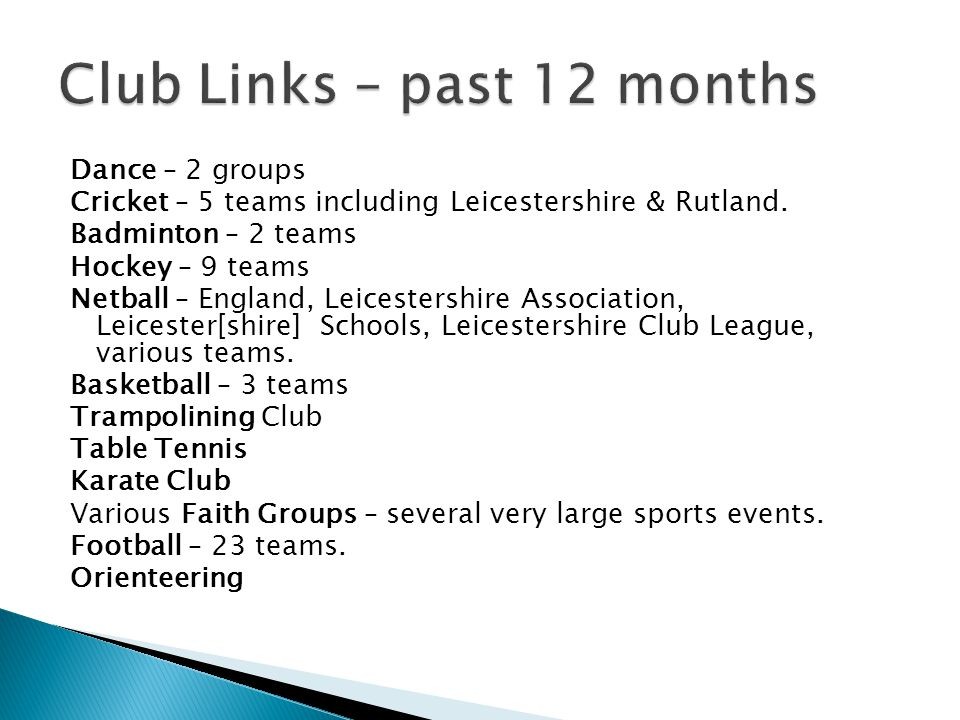 Dance – 2 groups Cricket – 5 teams including Leicestershire & Rutland.