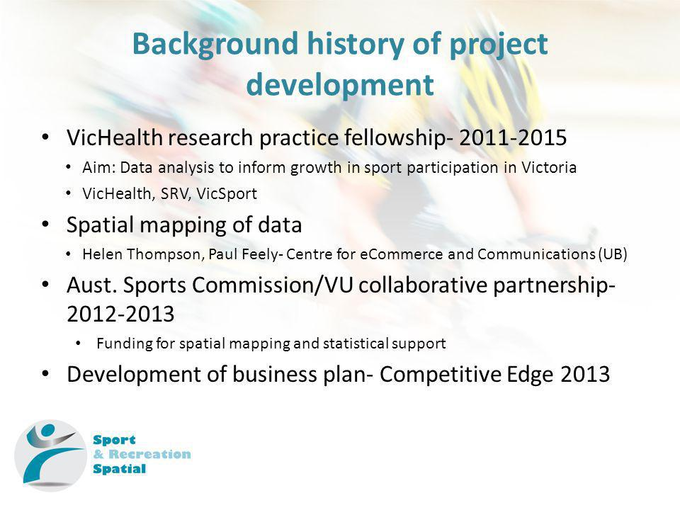 Background history of project development VicHealth research practice fellowship- 2011-2015 Aim: Data analysis to inform growth in sport participation in Victoria VicHealth, SRV, VicSport Spatial mapping of data Helen Thompson, Paul Feely- Centre for eCommerce and Communications (UB) Aust.