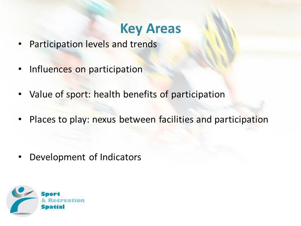 Key Areas Participation levels and trends Influences on participation Value of sport: health benefits of participation Places to play: nexus between facilities and participation Development of Indicators