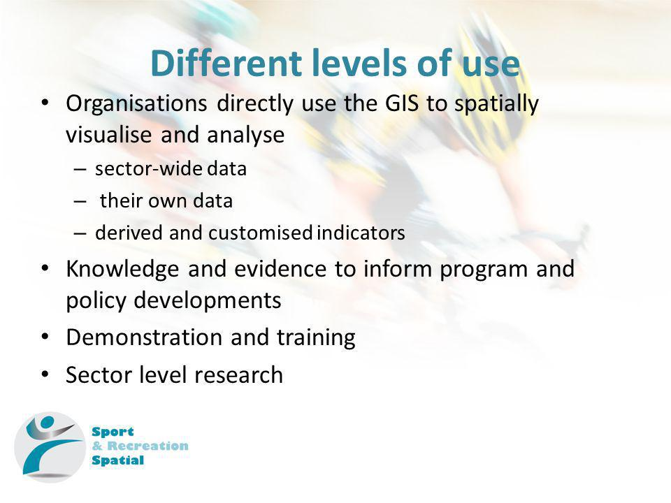 Different levels of use Organisations directly use the GIS to spatially visualise and analyse – sector-wide data – their own data – derived and customised indicators Knowledge and evidence to inform program and policy developments Demonstration and training Sector level research