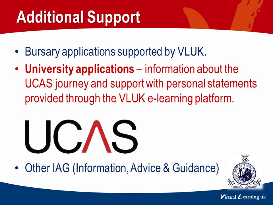 Additional Support Bursary applications supported by VLUK.