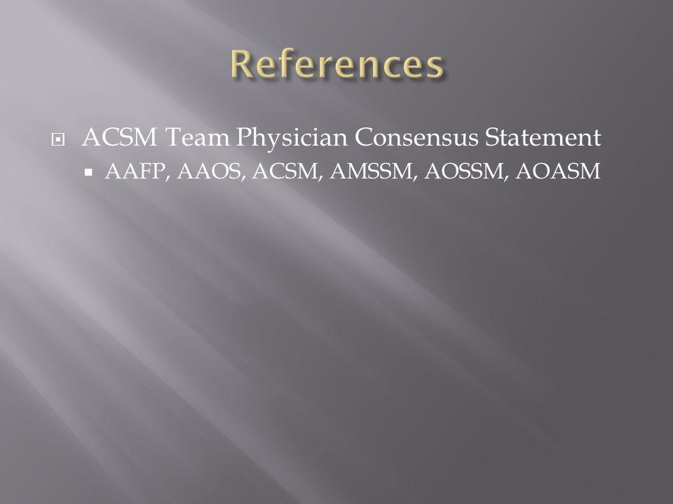 ACSM Team Physician Consensus Statement AAFP, AAOS, ACSM, AMSSM, AOSSM, AOASM