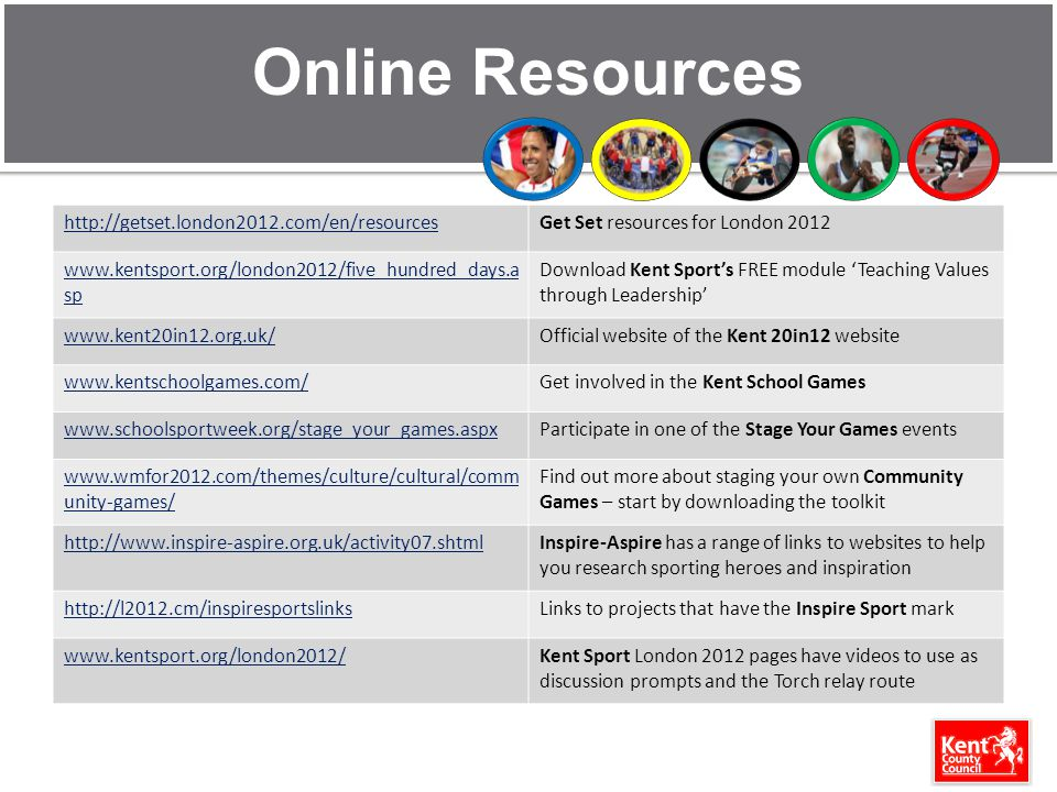 Online Resources http://getset.london2012.com/en/resourcesGet Set resources for London 2012 www.kentsport.org/london2012/five_hundred_days.a sp Download Kent Sports FREE module Teaching Values through Leadership www.kent20in12.org.uk/Official website of the Kent 20in12 website www.kentschoolgames.com/Get involved in the Kent School Games www.schoolsportweek.org/stage_your_games.aspxParticipate in one of the Stage Your Games events www.wmfor2012.com/themes/culture/cultural/comm unity-games/ Find out more about staging your own Community Games – start by downloading the toolkit http://www.inspire-aspire.org.uk/activity07.shtmlInspire-Aspire has a range of links to websites to help you research sporting heroes and inspiration http://l2012.cm/inspiresportslinksLinks to projects that have the Inspire Sport mark www.kentsport.org/london2012/Kent Sport London 2012 pages have videos to use as discussion prompts and the Torch relay route