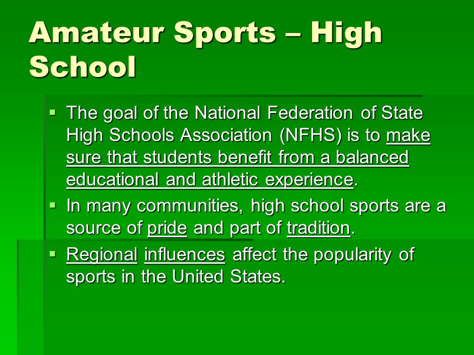 Amateur Sports – College and University Sporting events at the college level are _____________________________________.