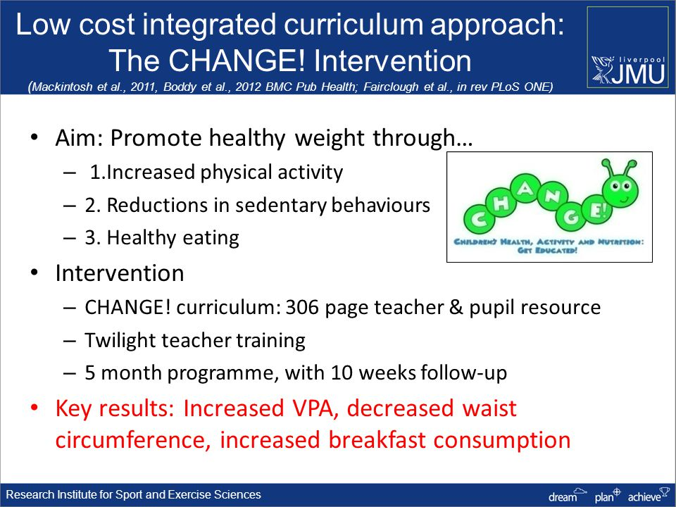 Research Institute for Sport and Exercise Sciences Low cost integrated curriculum approach: The CHANGE.