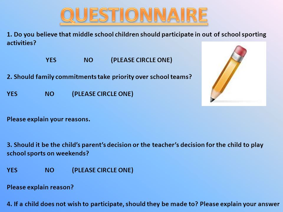 IN QUESTION 3, MOST PEOPLE THOUGHT THAT PARENTS SHOULD DECIDE WHETHER KIDS SHOULD PLAY SPORT OR NOT.