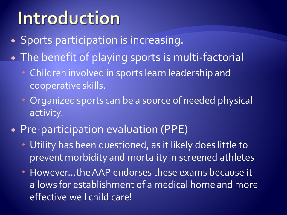 Sports participation is increasing.