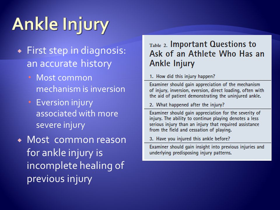 First step in diagnosis: an accurate history Most common mechanism is inversion Eversion injury associated with more severe injury Most common reason for ankle injury is incomplete healing of previous injury